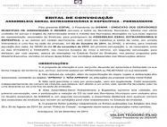 Edital de convocação de assembleia sobre mudança no Estatuto Social do SISMAR (1